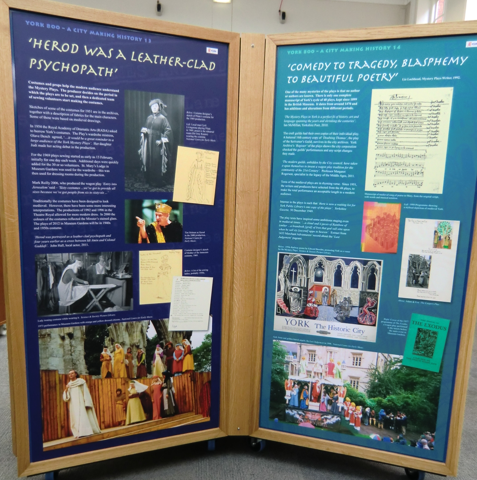 Panels in library about the Plays